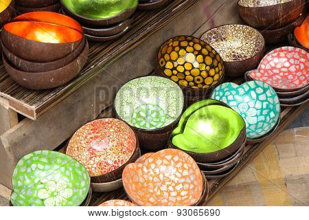 Vietnamese traditional bowls made of coconut
