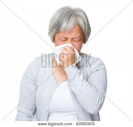 Elderly woman runny nose