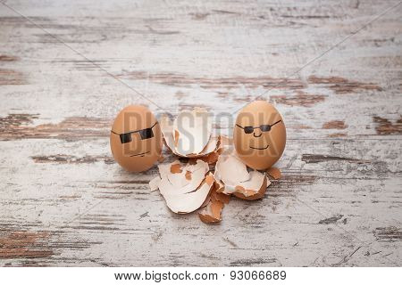 funny bodyguard eggs and shell