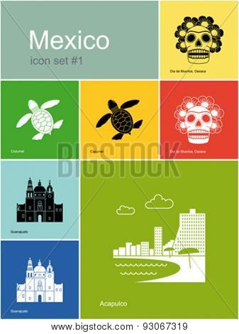 Landmarks of Mexico. Set of color icons in Metro style. Editable vector illustration.