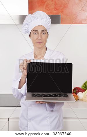 Woman Chef Showing Blank Laptop