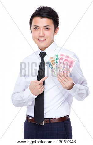 Young businessman finger point to his RMB