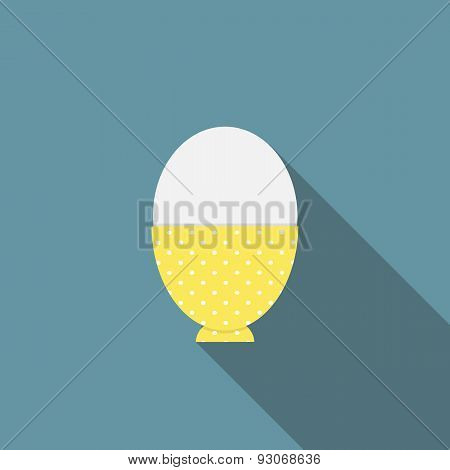 Soft-Boiled Egg Flat Icon with Long Shadow, Vector Illustration