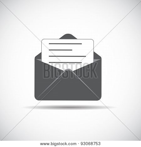 E-Mail Flat Icon with Shadow, Vector Illustration