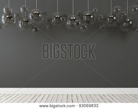 Hanging Chandeliers In The Form Of Bubbles On The Gray  Background