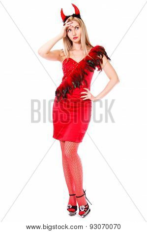 Beautiful Young Woman In A Devil Costume