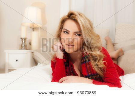 Pretty Blonde Girl Red Christmas Clothes Bed Chin On Hand