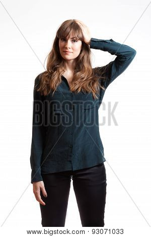 Pretty Female Model Thinking  Hand On Head Isolated White Background.