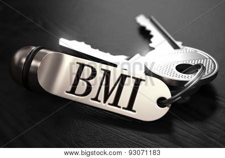 BMI Concept. Keys with Keyring.