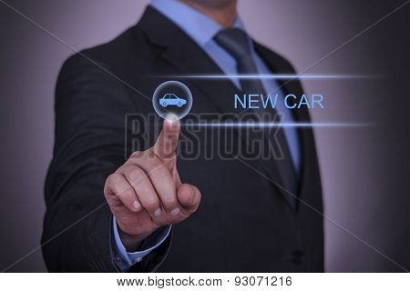 Businessman Touching New Car