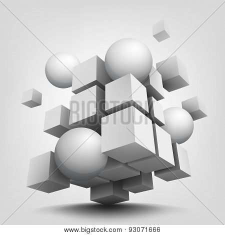 Composition with 3d cubes and spheres.