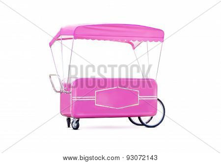 Pink Trailer For Cotton Candy Isolated On White Background