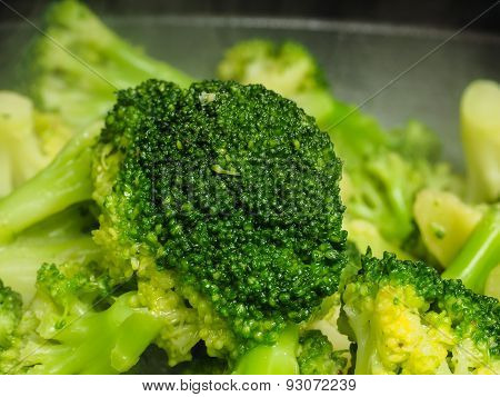 Closeup Of Fresh Steamed Green Broccoli In Fry Pan