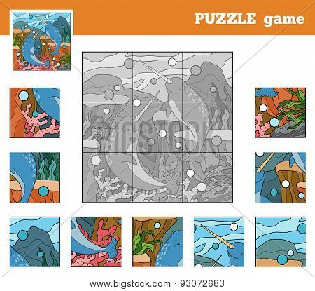 Puzzle Game For Children With Animals (narwhals Sea World)
