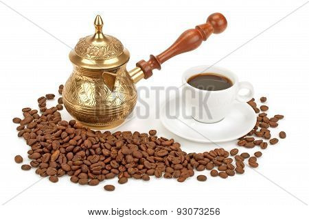 Cup Of Coffee , Coffee Pot And Coffee Beans