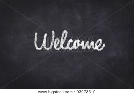 welcome - text on chalkboard , handwritten