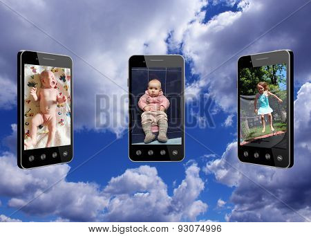 Mobile Phones With Different Stages Of Childhood