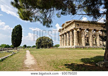 Archaeological  Site Of Paestum , Temple Of Hera . Italy