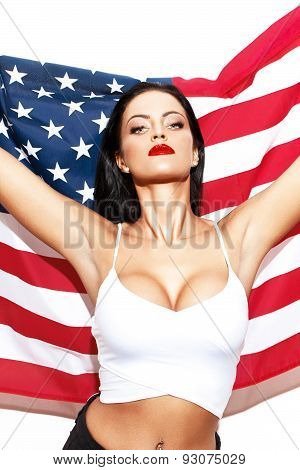 Sexy Woman With Usa Flag