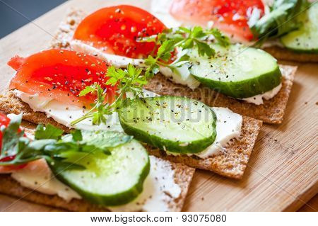 Healthy Food Theme. Sandwiches For A Breakfast