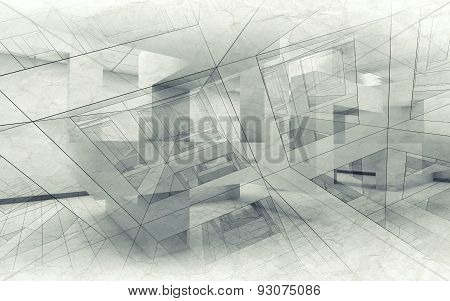 Abstract Architecture Background, Chaotic Interior 3D