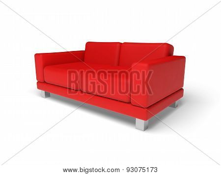 Red Sofa Isolated On White Empty Floor Background