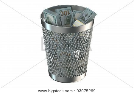Trash Bin With Packs Of Dollars