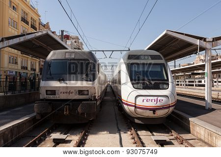 Two Trains In Valencia, Spain
