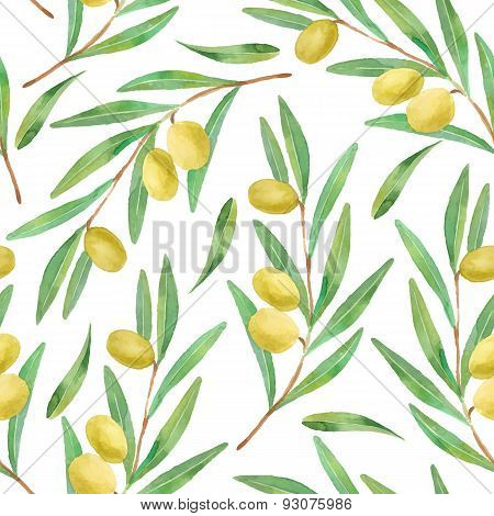 Watercolor branches of olives seamless pattern. Vector illustration.