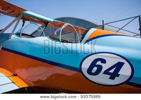 Light Aircraft, Modern Biplane Orange And Blue