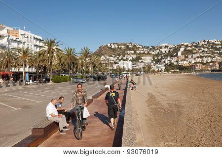 Promenade In Roses, Spain
