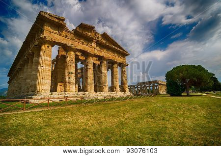 Temple Of Neptune In High Dynamic Range.  Paestum Archaeological  Site In Italy