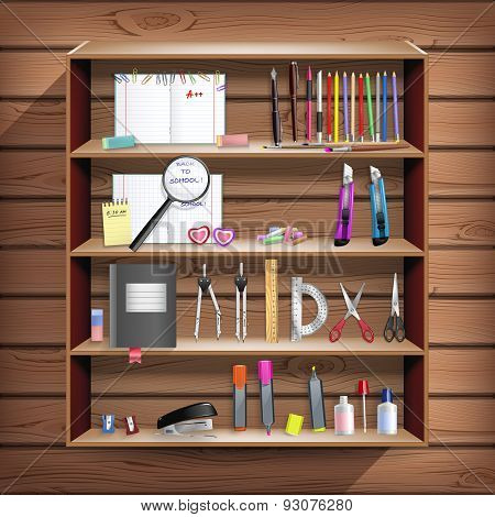 Back To School Set With Office Stationery Objects In Wooden Closet In Vector