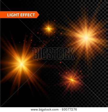Set of  glowing light effect stars bursts with sparkles on transparent background. Vector illustrati