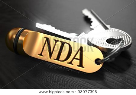 Keys with Word NDA on Golden Label.