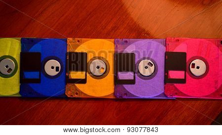 Colorful Floppy Disks In A Line