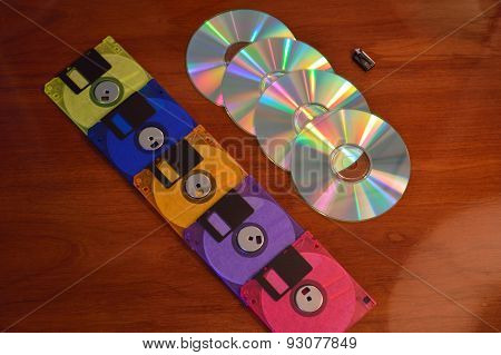 Floppy Disks, Cds, And A Flash Drive