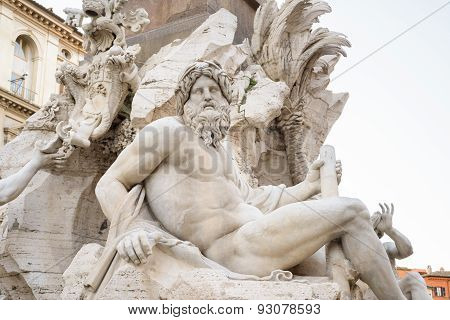 Statue In Navona Square