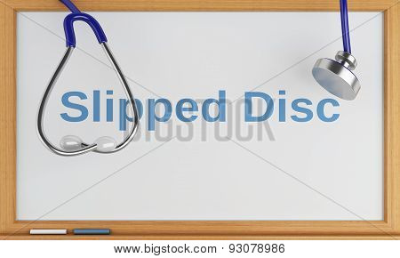 3D Blackboard With The Word Slipped Disc. Medical Concept