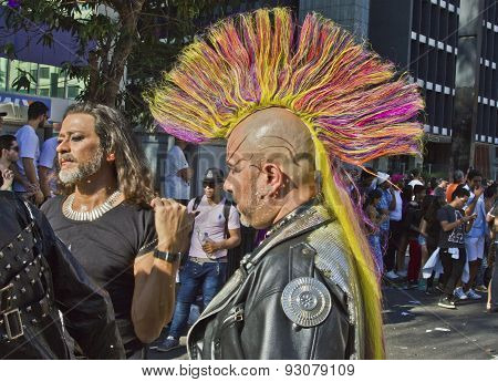 Persons Wearing Costumes In Pride Parade Sao Paulo