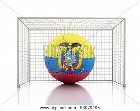 3D Soccer Ball With Ecuador Flag