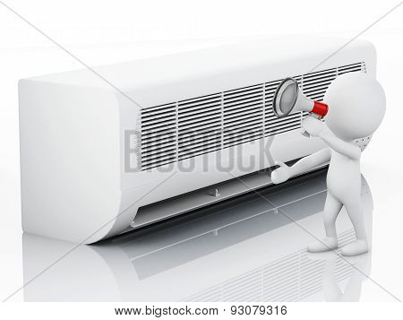 3d white people with air conditioner