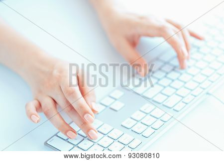 Female Woman Office Worker Typing On The Keyboard