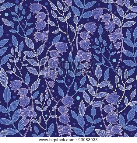 Vector night forrest floral seamless pattern