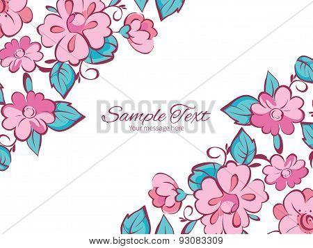 Vector pink blue kimono flowers horizontal double corners frame invitation template