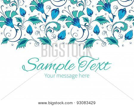 Vector blue green swirly flowers horizontal border greeting card invitation template