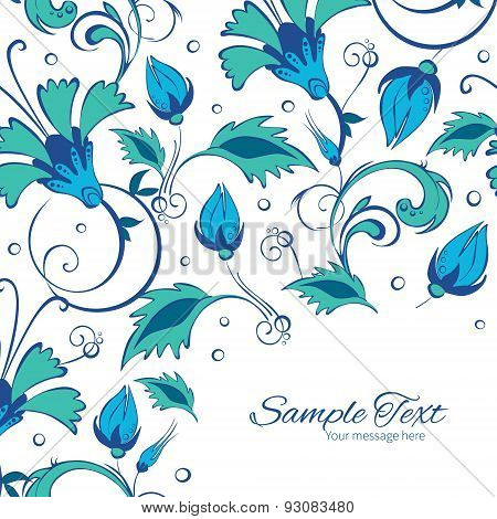 Vector blue green swirly flowers frame corner pattern background