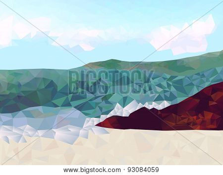 Rocky shoreline with ocean view