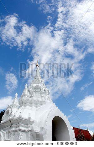 White Stucco Thai Buddhist Temple
