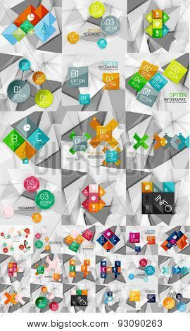 Huge mega collection of abstract geometric paper graphic layouts. Universal backgrounds, presentation templates or web covers